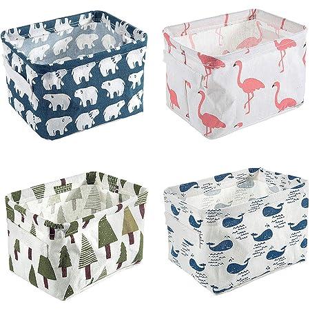 Czemo Ensembles de 4 Paniers de Rangement en Tissu Petite Boite de Rangement Pliable Organisateur Cube de Rangement pour étagères et Bureau ou Maquillage