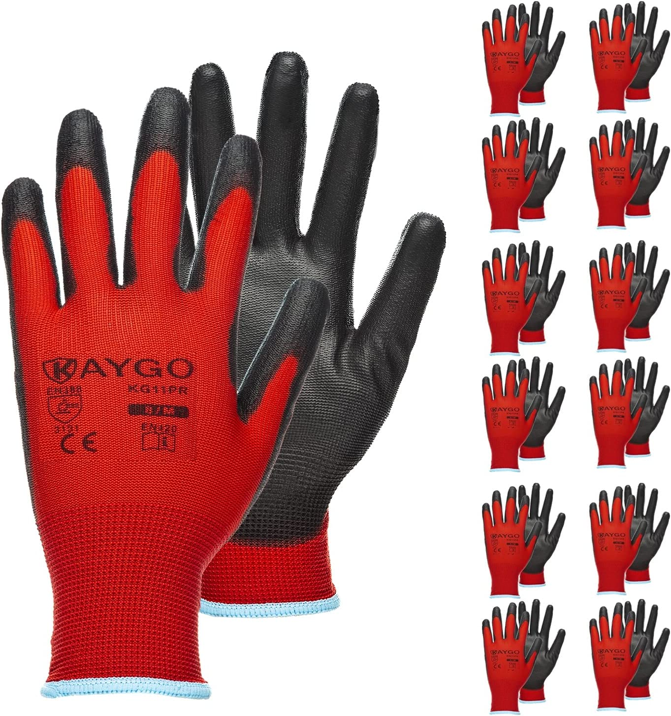 Safety Work Gloves PU Coated-12 Pairs,KAYGO KG11PB, Seamless Knit Glove with Polyurethane Coated Smooth Grip on Palm & Fingers, for Men and Women, Ideal for General Duty Work (Large, Red)