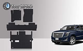 ToughPRO Floor Mats Set + 3rd Row Compatible with Cadillac Escalade - 2nd Row Bench Seating - All Weather - Heavy Duty - Black Rubber - (Made in USA) - 2015, 2016, 2017, 2018, 2019, 2020