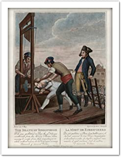 Execution Robespierre Guillotine French Revolution Artwork Framed Wall Art Print 18X24 Inch