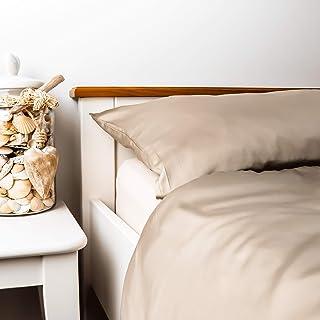 kosier Bettwäsche 155 x 220 cm mit Kissenbezug 80x80 cm – besonders nachhaltig aus 100% Bambus Lyocell, wärmende Winterbettwäsche, Allergiker Bettbezug in Beige