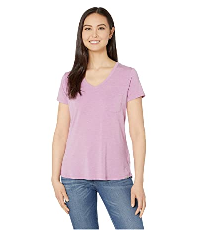 Prana Foundation Short Sleeve V-Neck Top (Orchid Heather) Women