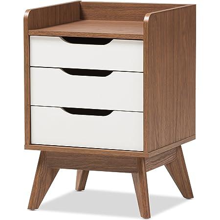 Baxton Studio Maddy Mid-Century Modern Wood 3-Drawer Storage Nightstand, White/Walnut Brown