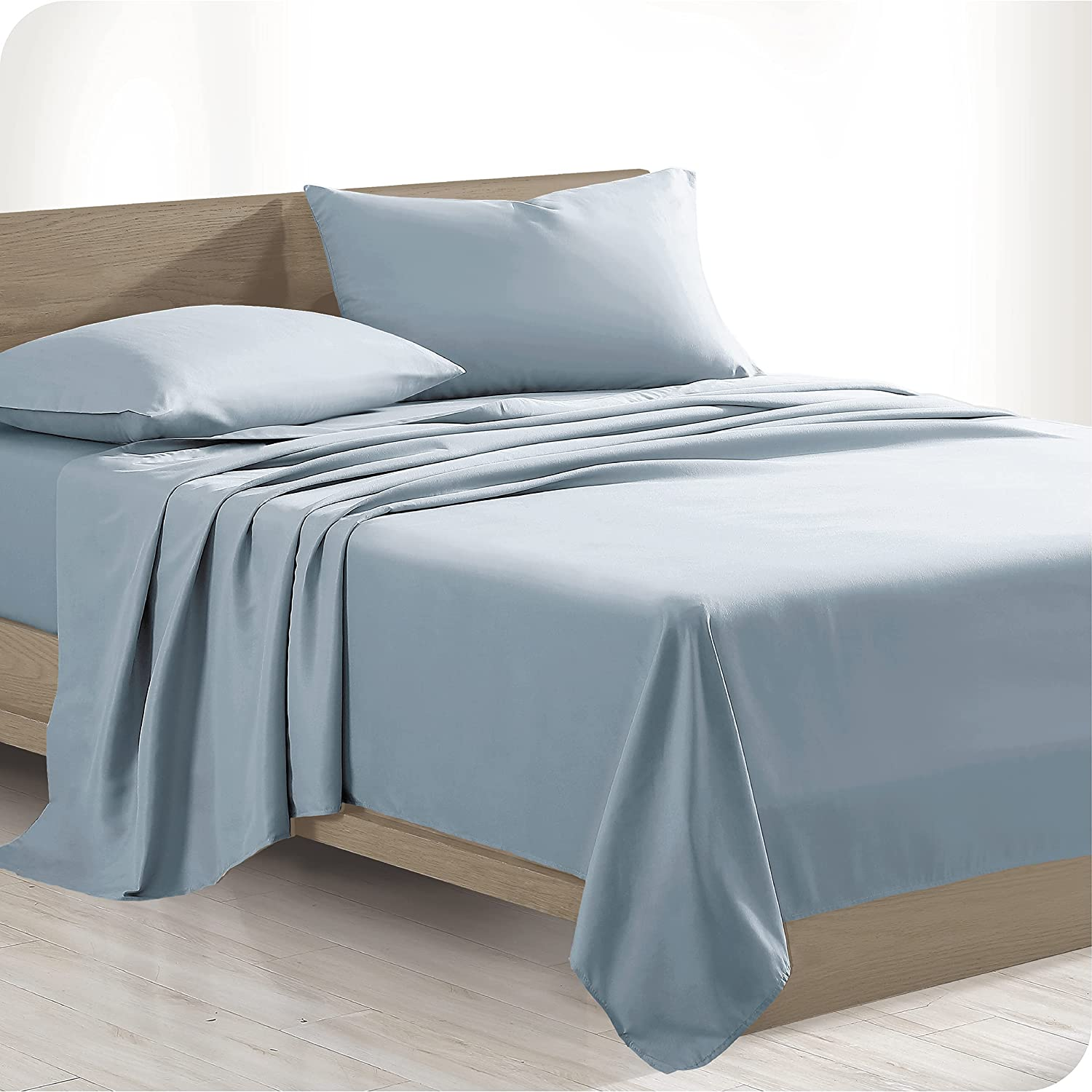 Bare Home 100% Organic Cotton Twin Sheet Set - Crisp Percale Weave - Lightweight & Breathable - Bedding Sheets & Pillowcases (Twin, Dusty Blue)