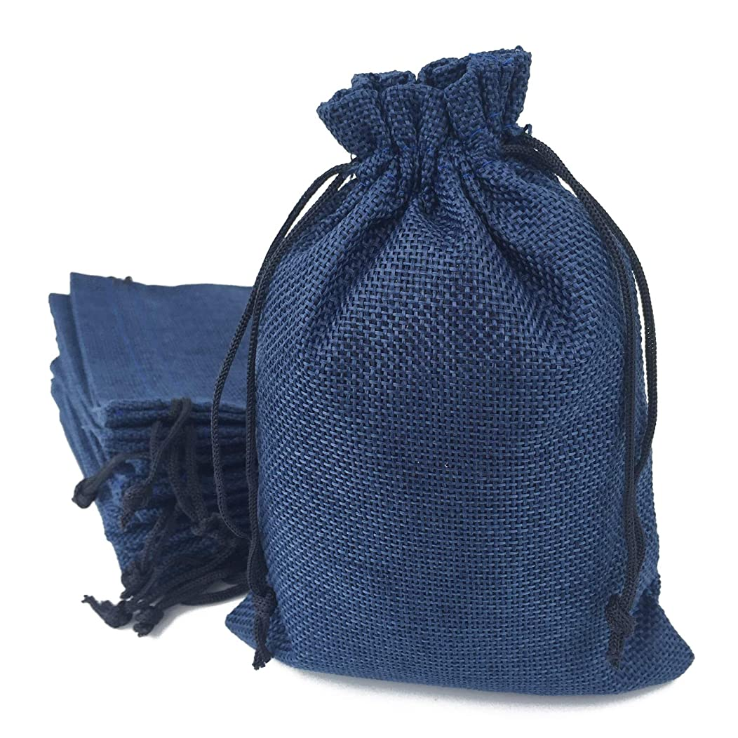 50PCS Burlap Favor Gift Bags with Drawstring and Cotton Lining (5.1 X 7 Inch, 08 Navy)