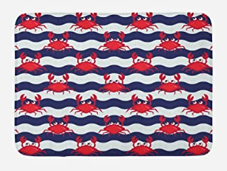 Ambesonne Crabs Bath Mat, Nautical Maritime Theme Crabs on Striped Background..