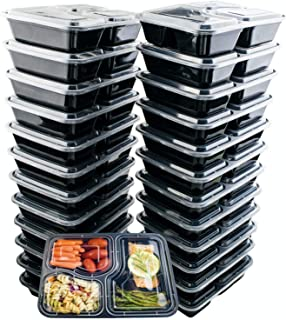 24 Pack of 32 Ounce Lunch To Go Containers, 3 Compartment Healthy Meal Prep Food Storage Container with Lids, BPA Free, Microwavable, Reusable, Portion Control Bento Boxes, by FreshSnaps