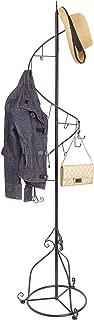 MyGift Elegant Black Metal 14 Hook Spiral Coat Hanger/Bag Display/Garment Rack Stand