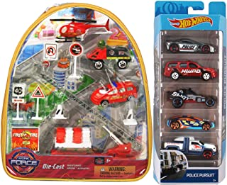Hot Wheels Unit Rescue! Fire + Police Pursuit 5-Pack Cars Bundled with Firefighter Pack / Swat / Speed Trap / Diesel Duty Truck / Chevy Tahoe Heroic Set City Road Signs 2 Items