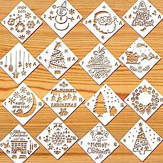 HOWAF 16 Pièces Noël Pochoir Kit de Dessin Au Pochoir en Plastique Réutilisable, Joyeux Noël Père Noël Sapin de Noël Floco...