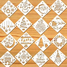Konsait 16Pack Christmas Stencils Templates, Reusable Plastic Craft Drawing Painting Template, Xmas Stencils for Greeting Cards, Albums, Scrapbook, Notebook, Journal, Wall Art Wood, Face Cookie Home Decor