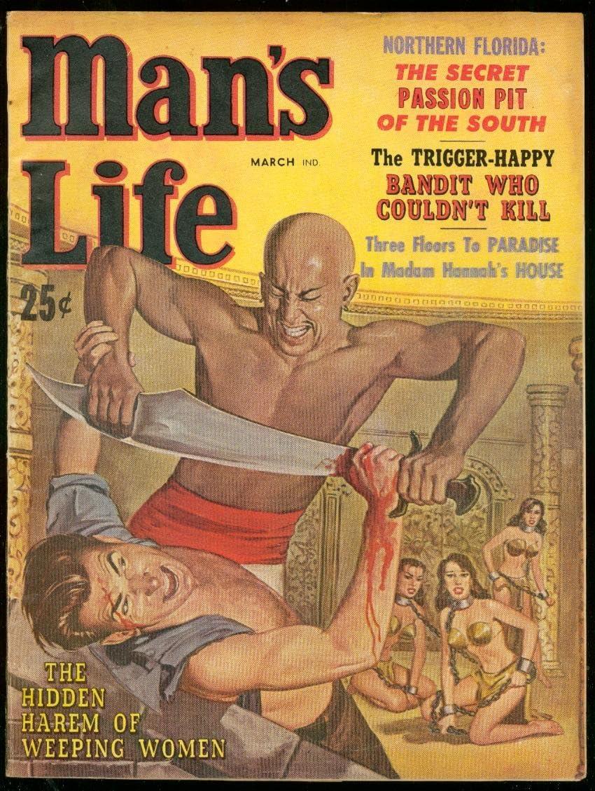 MAN'S LIFE PULP MARCH unisex Popularity 1960-WILD G HAREM COVER-NAZIS-WW II