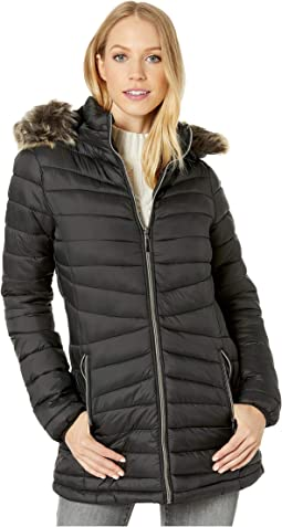Long Polyfill Puffer Jacket with Faux Fur Trim Hood