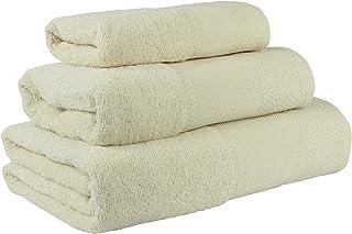Flor de Algodón Panama Juego de 3 toallas algodón, BEIGE,