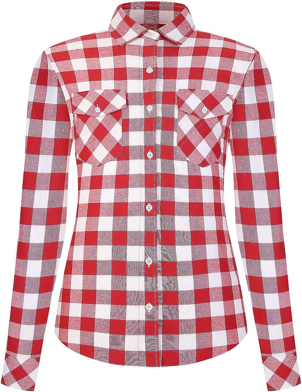 DOKKIA Women's Flannel Shirt Casual Tops Long Sleeve Buffalo Plaid Check Blouses Jacket