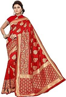 Women's Red Jacquard Banarasi Silk Saree with Unstitched Blouse