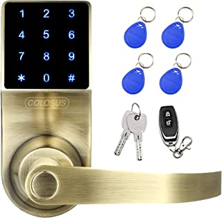 COLOSUS NDL319 Keyless Electronic Trusted Digital Smart Door Lock for Home & Office Security, Touchscreen – 50 User Codes + 4 Key Fobs + 1 Remote + 2 Keys (Gold) …