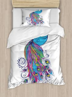 Peacock Decor Duvet Cover Set by Ambesonne, Colorful Fashion Art with Peacock Pattern Stylish Ornament Paisley Oriental, 2 Piece Bedding Set with 1 Pillow Sham, Twin / Twin XL Size