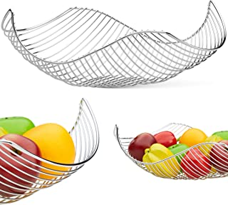 Vistella Fruit Bowl Basket in Chrome Silver - 6 Colors Available - Stainless Steel Wire Design with a Modern Decorative Style - Great Countertop Centerpiece