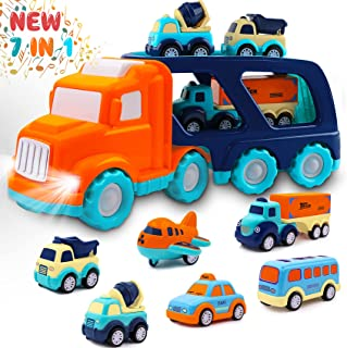 Toddler Toys Car for Boys: Kids Toys for 1 2 3 4 5 Year Old Boys Girls   Boy Toys 7 in 1 Carrier Vehicle Toy Trucks Baby Toys 12-18 Months Party Christmas Birthday Gifts for Boys Toddler Toys Age 2-4
