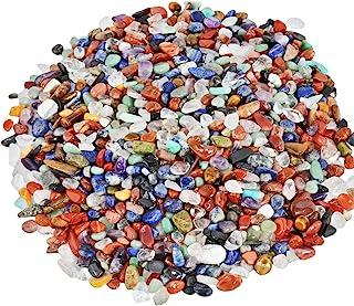 SUNYIK Assorted Tumbled Chips Stone Crushed Crystal Quartz Pieces Irregular Shaped Stones 1pound(About 460 Gram)