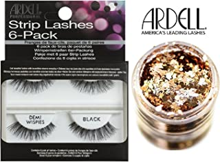 Ardell Professional STRIP LASHES 6-pack, DEMI WISPIES BLACK, Contains 6 pair of Lashes, Get Beautiful Lashes with Incredible Volume Everyday (with bonus Skin/Hair GLITTER) (Demi Wispies Black)