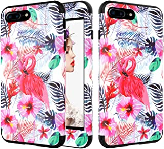 iPhone 8 Plus Case, UZER Flower Series Shockproof 3 in 1 Soft Interior Silicone Bumper&Hard Shell PC Back Cover Bumper Anti-Scratch Full-Body Protective Case for iPhone 8 Plus 5.5