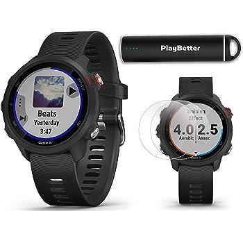 Garmin Forerunner 245 Music (Black) Power Bundle | +HD Screen Protectors & PlayBetter Portable Charger | Advanced Analytics, Heart Rate | Running GPS Watch | 010-02120-20