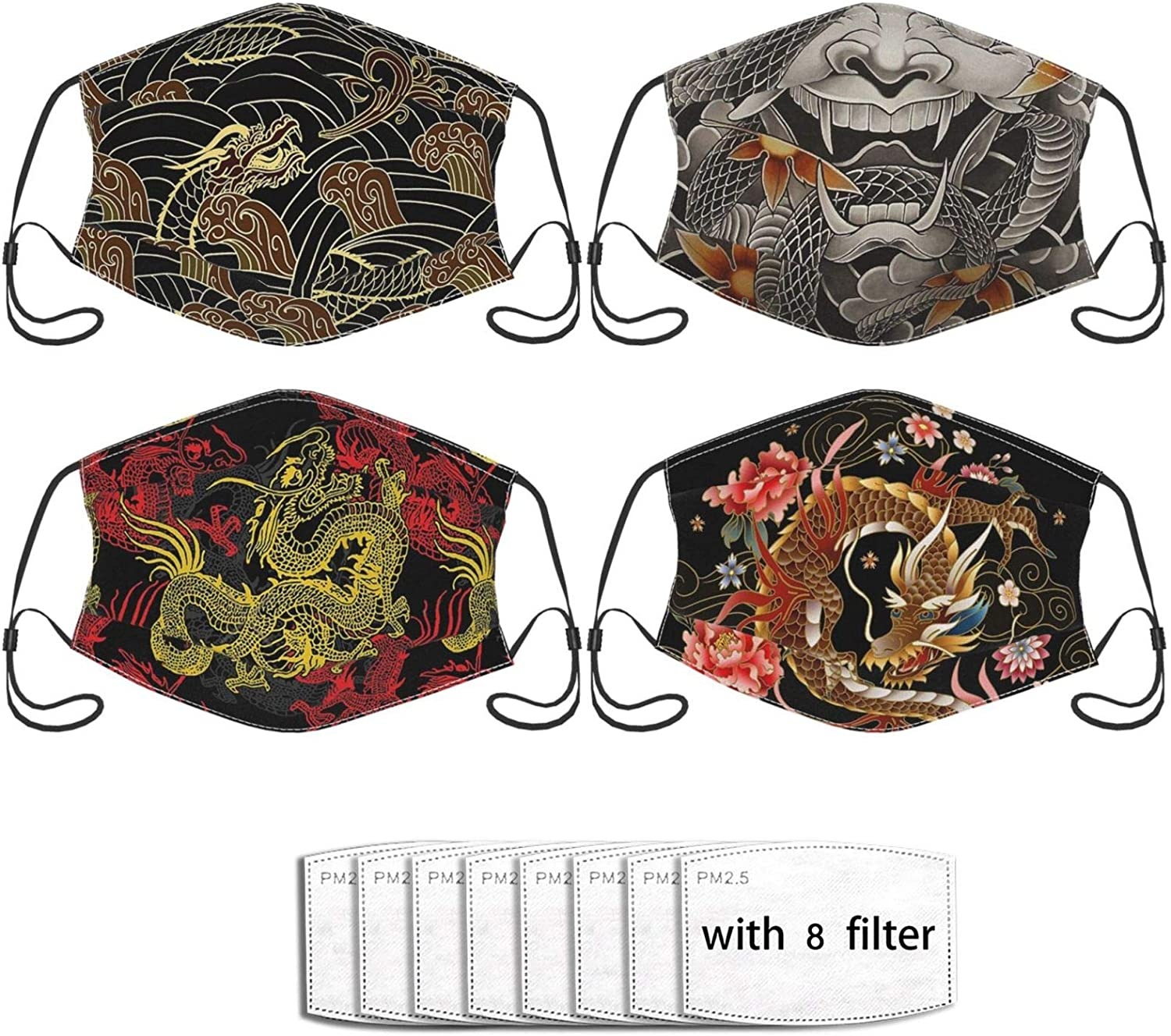 4pcs Koi Japanese Kimono Face Mask Unisex Balaclava Mouth Cover With Filter Windproof Dustproof Adjustable With Filter Pocket
