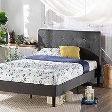 Zinus Shalini Single Fabric Bed Frame | Diamond Stitching Head Board, Metal Frame, Wood Slats - Dark Grey