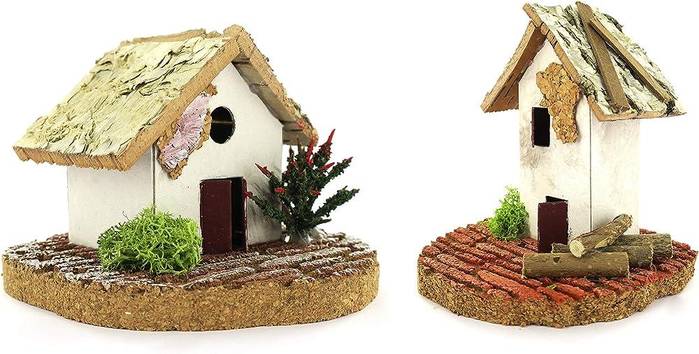 Ferrari & arrighetti coppia di casette singole rustiche con legna e arbusti,paesaggio per presepe B40092
