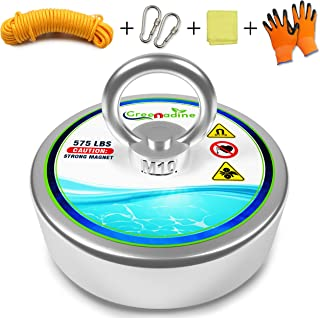 575lbs Fishing Magnets with Rope - Powerful Nylon Rope Super Magnet Fishing Kit - Strong Neodymium Magnets - Large Magnet for Fishing - Fishing Magnet Kit with Gloves - Big Magnet & Magnetic Fishing
