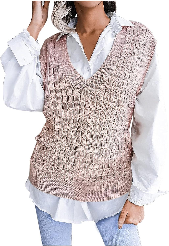 Women Casual V-Neck Hollow Diamond Knitted Vest Sweater Vest