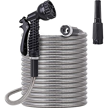 FOXEASE Metal Garden Hose 50 ft - Stainless Steel Water Hose with 2 Nozzles, Lightweight, Tangle Free & Kink Free, Heavy Duty, High Pressure, Flexible, Dog Proof