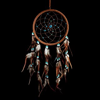 "Caught Dreams Dream Catcher ~ Brown Suedette with Turquoise Stones 8.5"" Diameter & 21"" Long!"