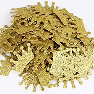 Gold Glitter Double Sided Crown Paper Confetti for Table Wedding Birthday Party Decoration,1.2 inch in Diameter(100pcs)