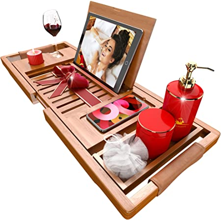 Premium Bathtub Tray [The Longest Bamboo Bath Tray] with Anti-Slip Grips, 1-2 Adults Expandable Bathtub Caddy with Wooden Book Holder, Special Slots for Candles, Wine, Phone, Gift Packaging Included