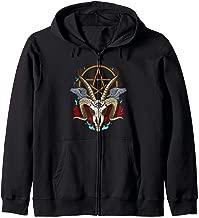 Baphomet Satanic Goat Ram Head Lucifer Eye Halloween Zip Hoodie