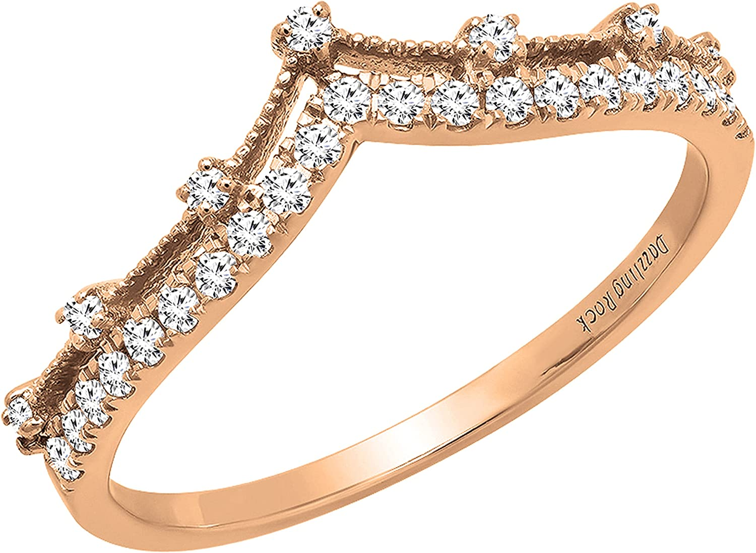 Dazzlingrock Collection 0.25 Carat (ctw) Round White Diamond Ladies Enhancer Guard Double Chevron V Shaped Stylish Matching Wedding Band 1/4 CT, Available in 10K/14K/18K Gold