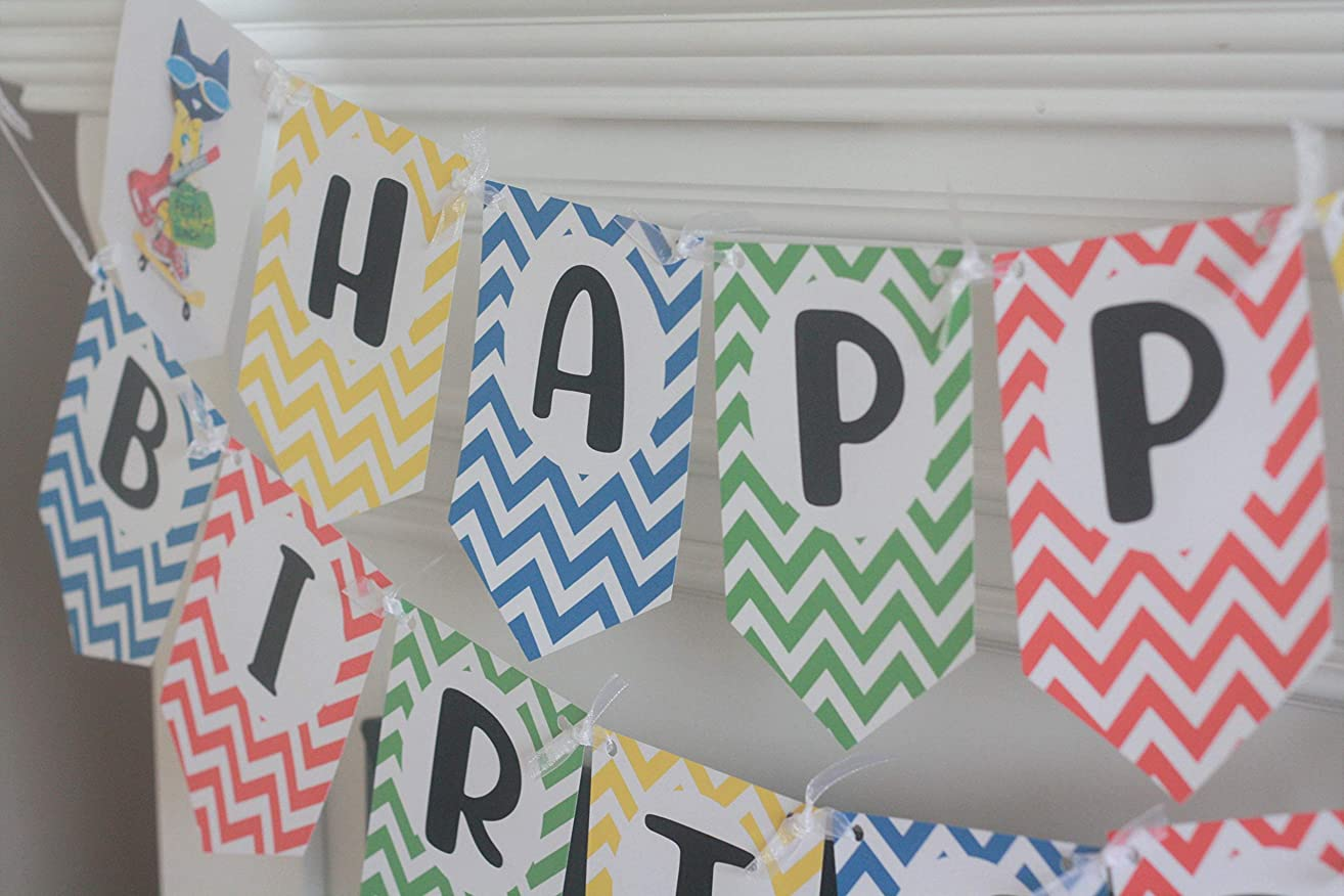 Happy Birthday Pete the Cat Primary Color Red Blue Green Pennant Flag Theme Banner - Matching Items Avail - Signs, Favor Tags, Cupcake Toppers etc.