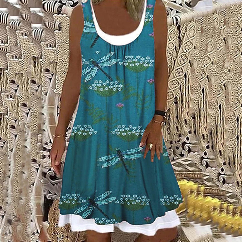 Summer Dresses for Women Boho Beach Floral Swing Tshirt Sundress Sleeveless Casual Loose Tank Dress Cover Ups