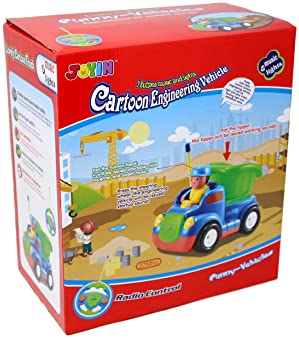 2 Cartoon RC Dump and Bulldozer Trucks Radio Remote Control with Music & Sound includes 2 Figures Toys for Baby, Todd...