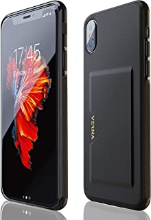iPhone X Case | iPhone Xs Case | Slim PU Leather Case | Card Holder Slot | Wireless Charging | Compatible with Apple iPhone X/iPhone Xs - Black