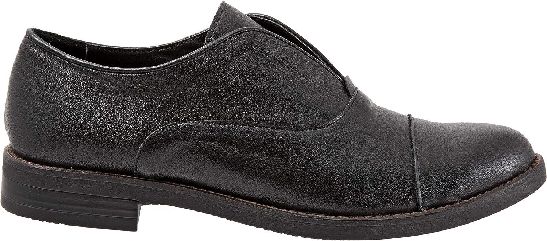 BUENO Women's Patty Flats in Black Leather, 36 EU