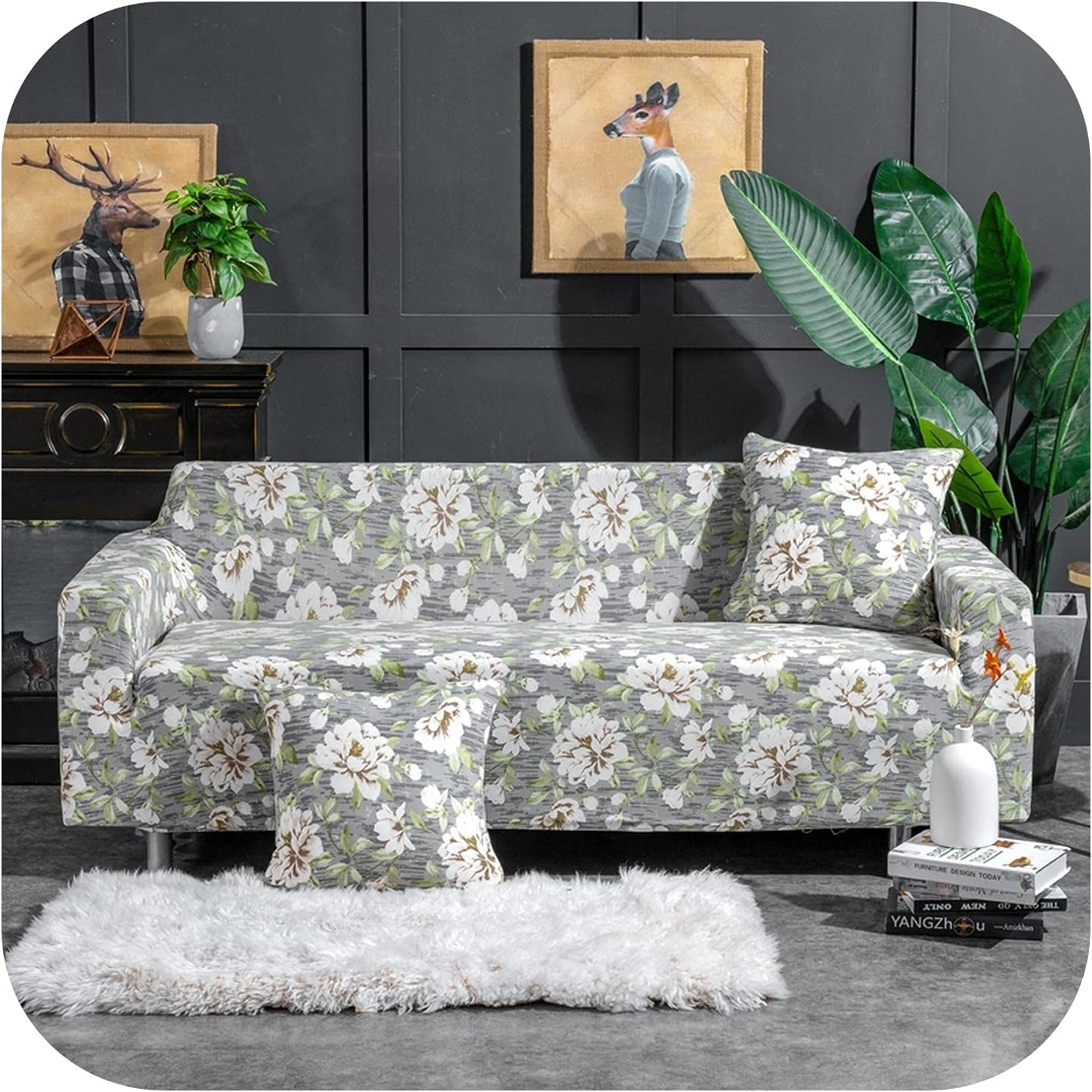 Nordic Floral Stretch Elastic Product Sectional Cover Arlington Mall Set Chai Sofa Seat