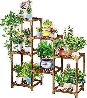 YGOCH Wood Plant Stand 7 Tiered, Indoor Outdoor Multiple Flower Pot Holder, Shelf Rack Multifunctional Storage Organizer f...