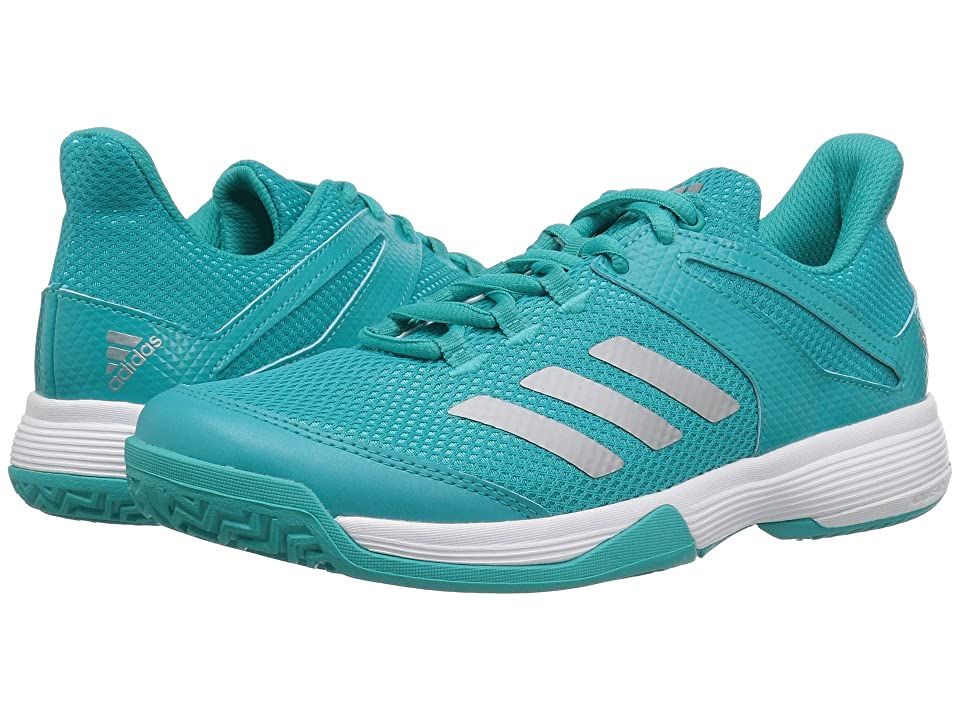 adidas Kids Adizero Club Tennis (Little Kid/Big Kid) (Hi-Res Aqua/Silver/White) Girl