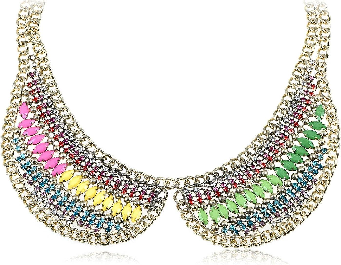Feeling Happy with Rainbow Bright Beaded Crystal Rhinestone Faux Collar Necklace Enjoy the Journey