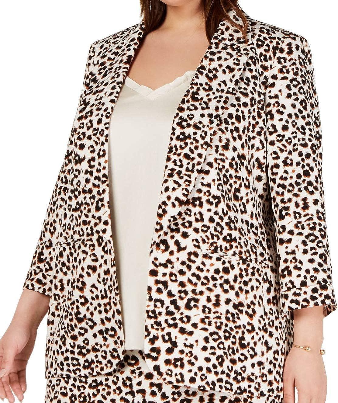 Bar III $129 Womens New Beige Open Front Animal Print Jacket 1X Plus B+B