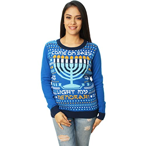 Menorah Get Lit Ugly Hanukkah Sweater All Over Neck Tie